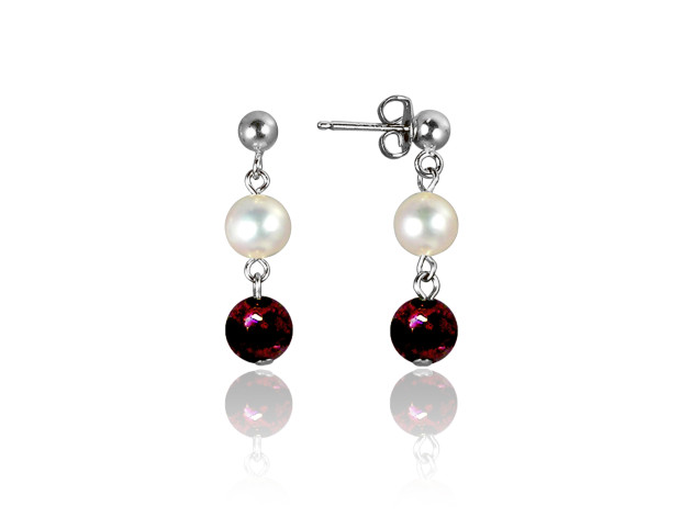 Freshwater Pearl and Garnet Earrings