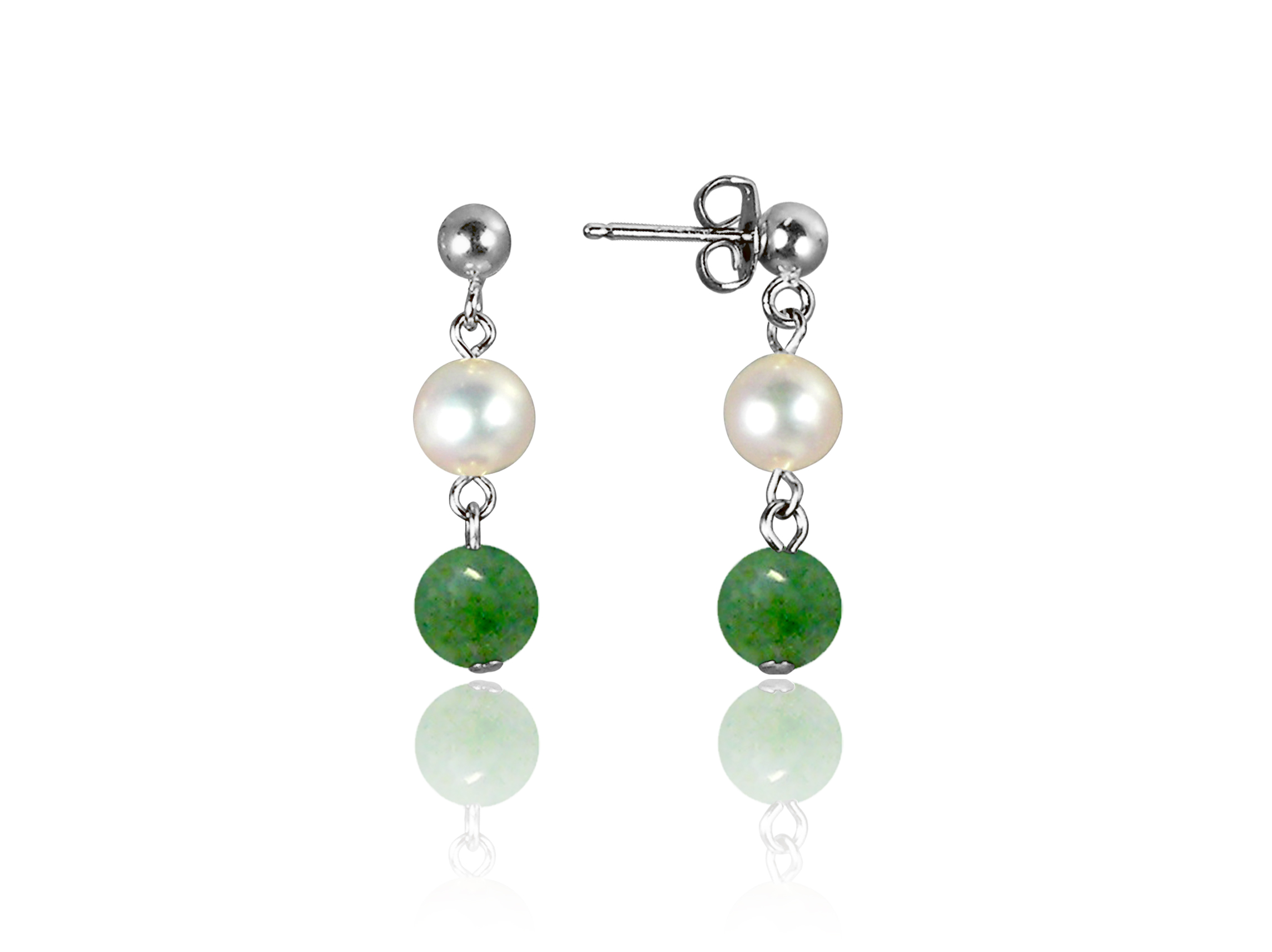 Freshwater Pearl and Jade Earrings