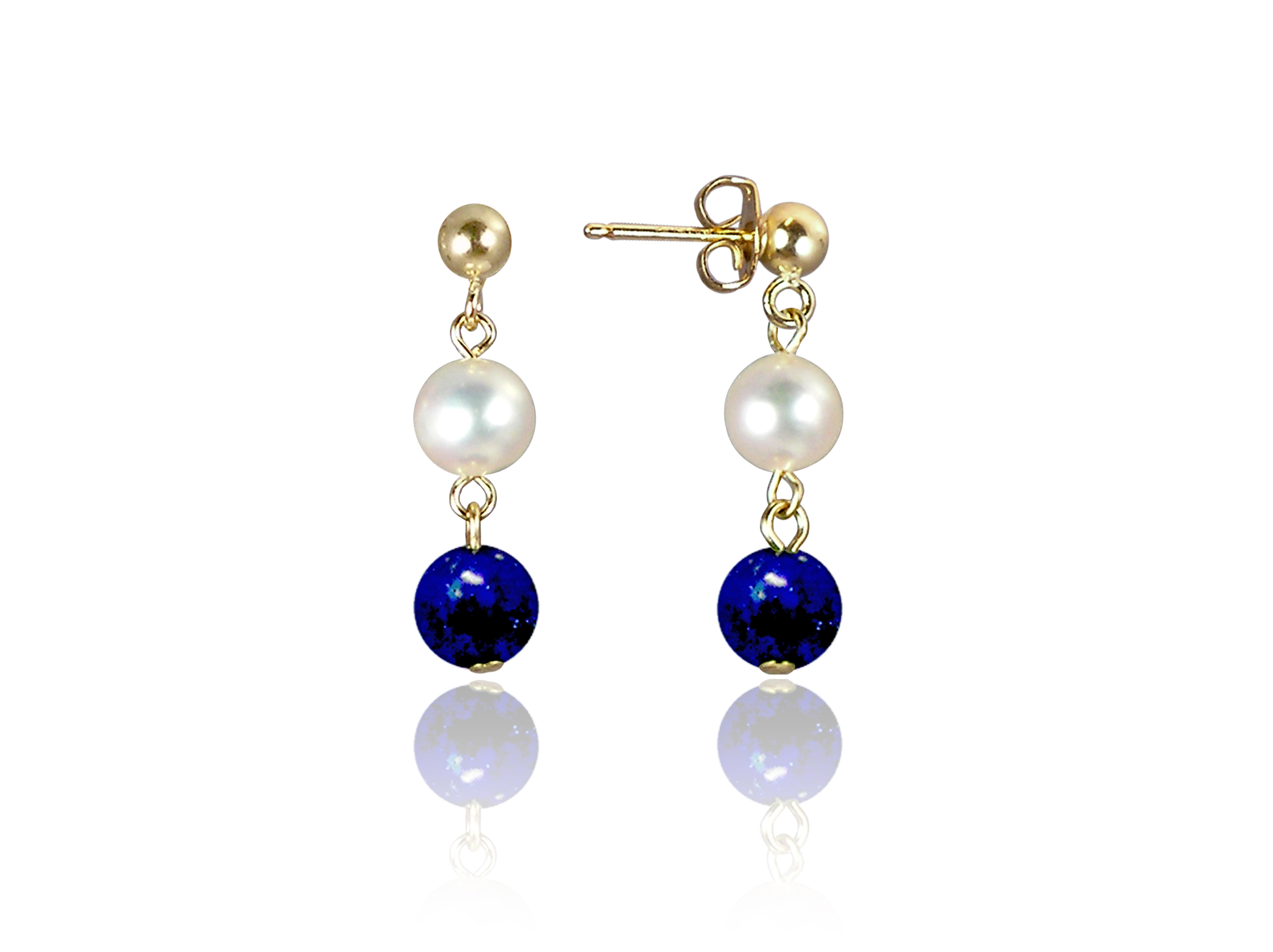Freshwater Pearl and Lapis Earrings