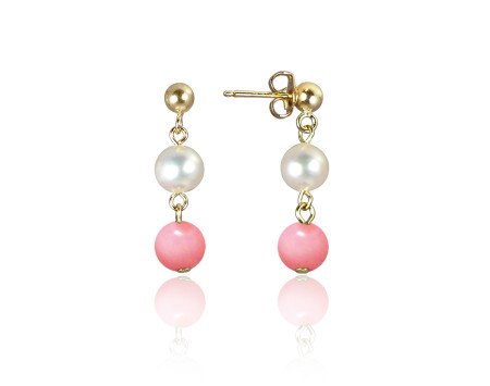 Freshwater Pearl and Pink Mother-of-Pearl Earrings