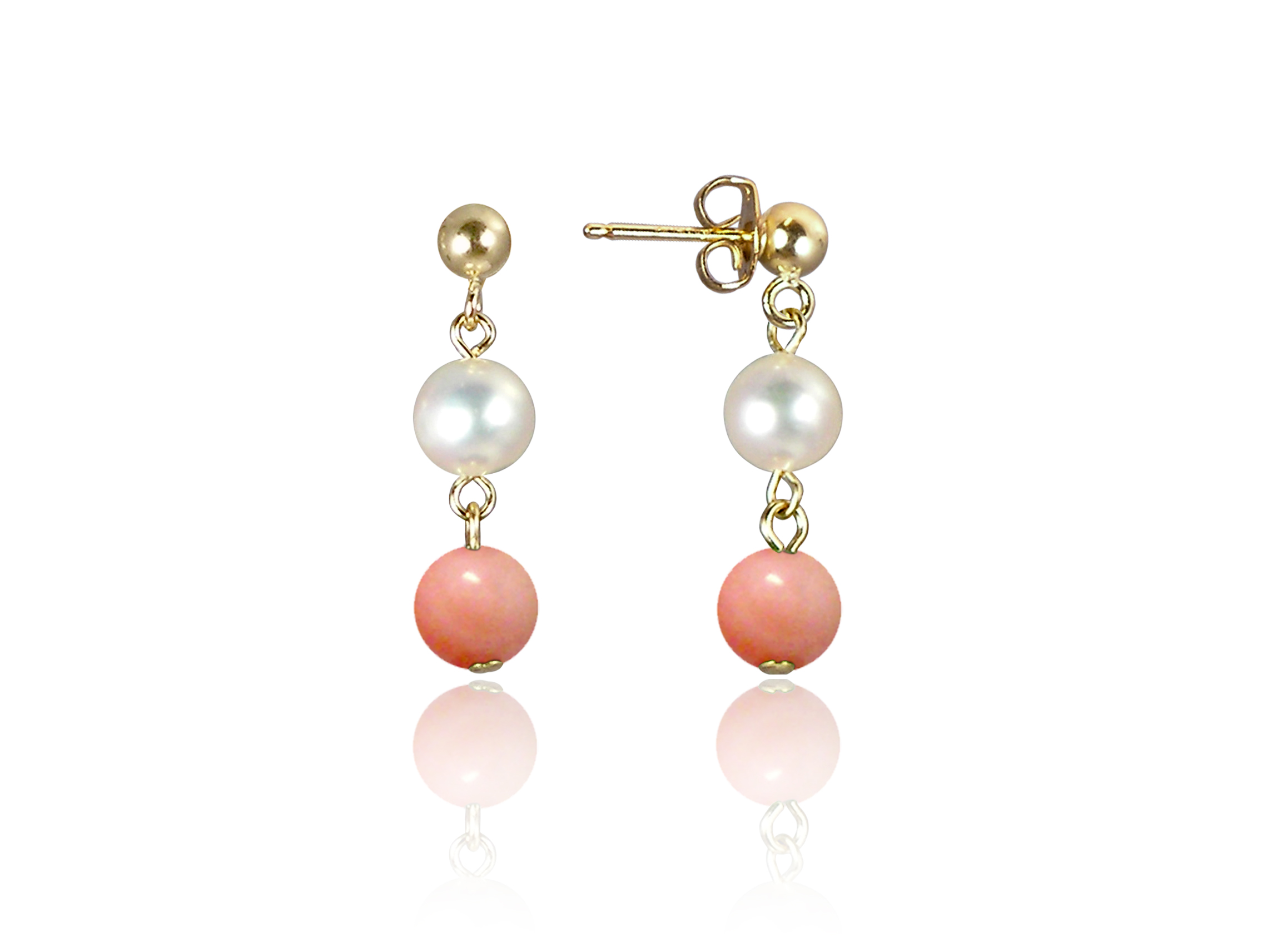 Freshwater Pearl and Pink Coral Earrings