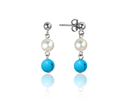 Freshwater Pearl and Blue Turquoise Earrings