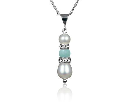Freshwater Pearl and Amazonite Pendant