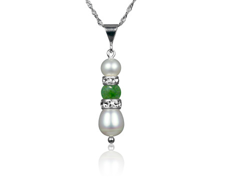 Freshwater Pearl and Jade Pendant