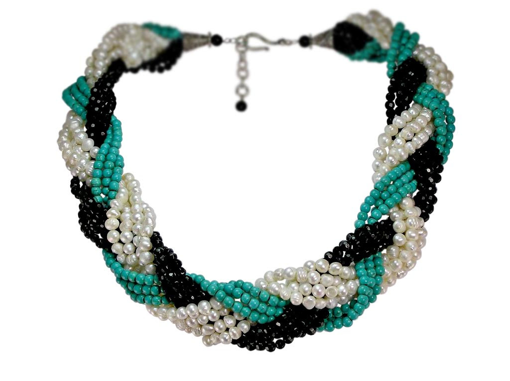 Freshwater Pearl and Gemstone Braided Necklace