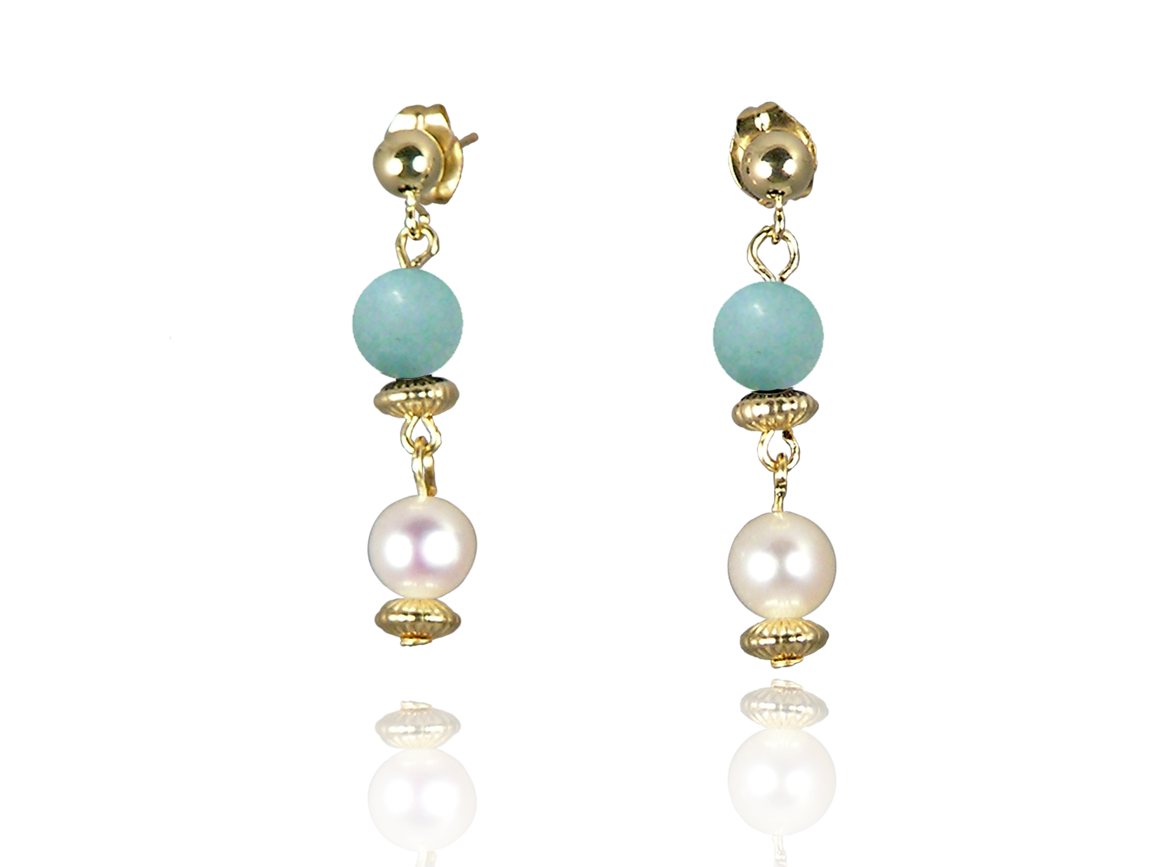 Freshwater Pearl Earrings with Amazonite in Gold Fill