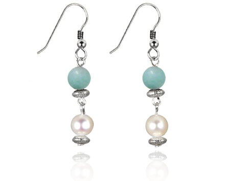 Freshwater Pearl Earrings with Amazonite in Sterling Silver