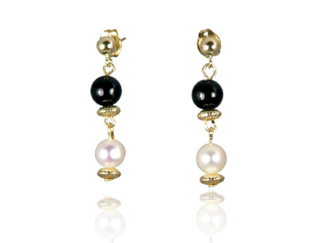 Freshwater Pearl Earrings with Black Onyx in Gold Fill