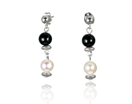 Freshwater Pearl Earrings with Black Onyx in Sterling Silver
