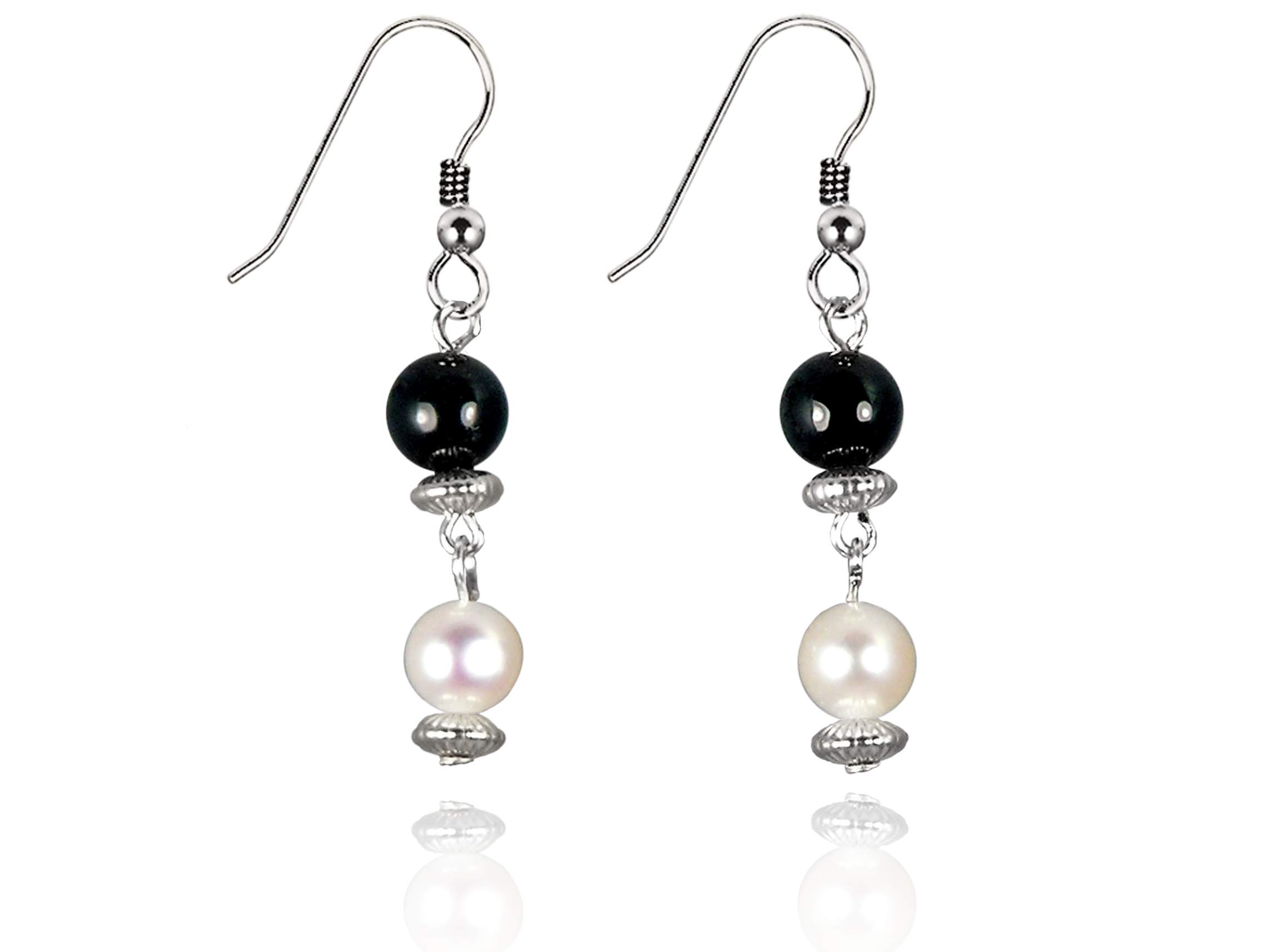 Freshwater Pearl Earrings with Black Onyx in Sterling Silver