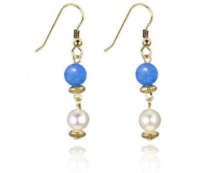Freshwater Pearl Earrings with Blue Quartz in Gold Fill