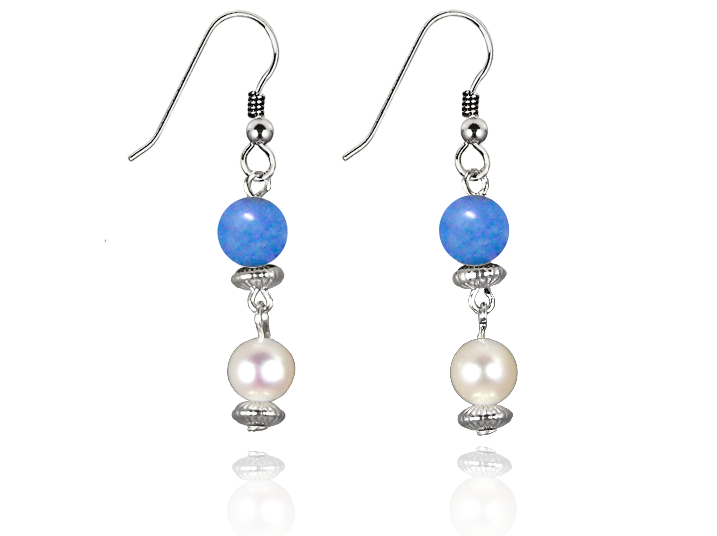 Freshwater Pearl Earrings with Blue Quartz in Sterling Silver