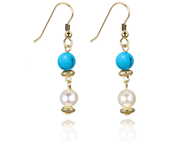 Freshwater Pearl Earrings with Blue Turquoise in Gold Fill