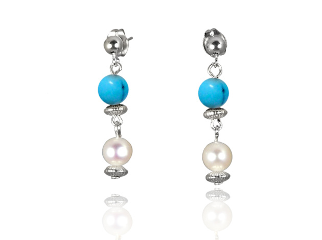 Freshwater Pearl Earrings with Blue Turquoise in Sterling Silver