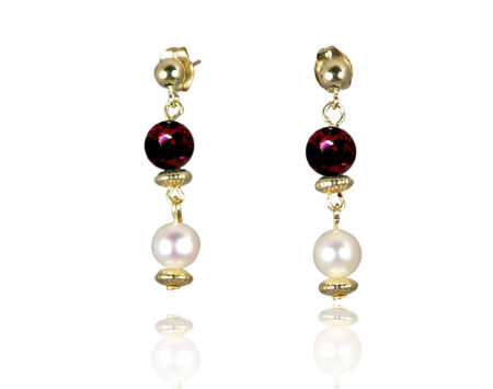 Freshwater Pearl Earrings with Garnet in Gold Fill