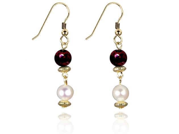 Freshwater Pearl Earrings with Garnet in Gold Fill