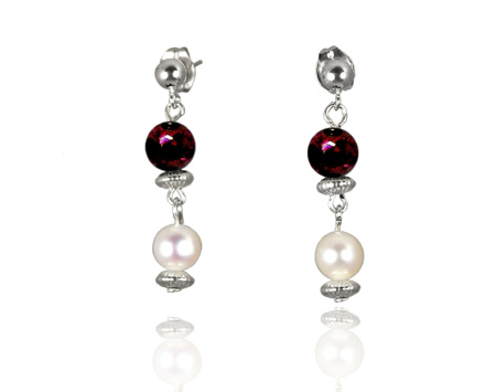 Freshwater Pearl Earrings with Garnet in Sterling Silver