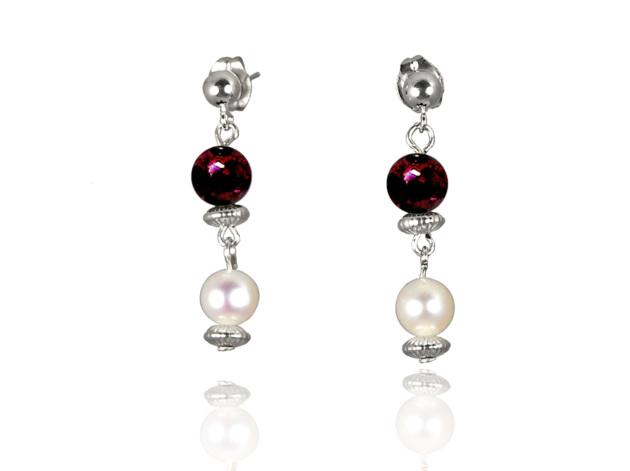 Freshwater Pearl Earrings with Garnet in Sterling Silver