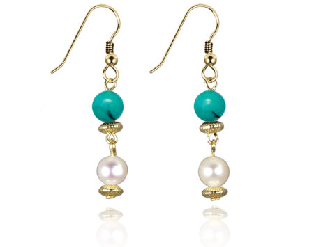 Freshwater Pearl Earrings with Green Turquoise in Gold Fill