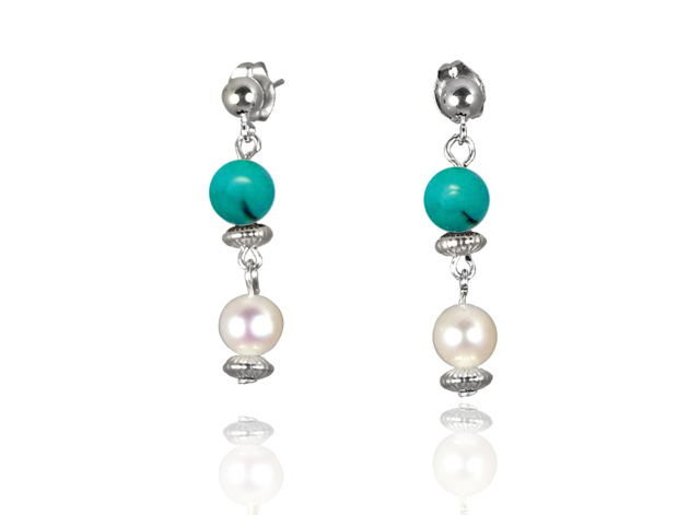 Freshwater Pearl Earrings with Green Turquoise in Sterling Silver