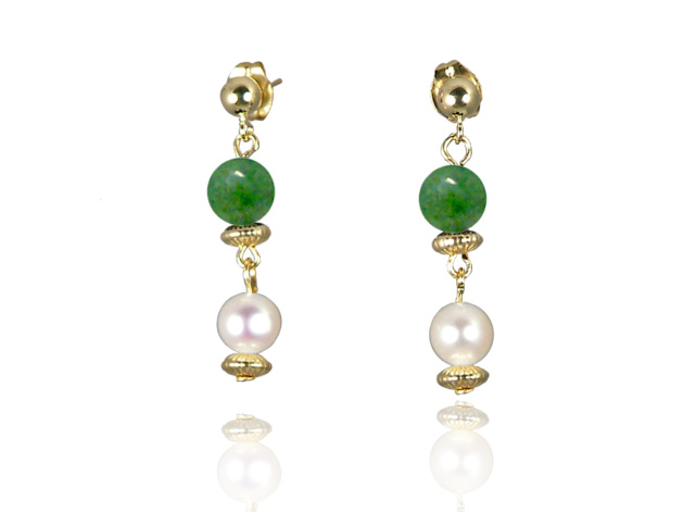 Freshwater Pearl Earrings with Jade in Gold Fill