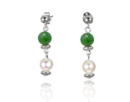Freshwater Pearl Earrings with Jade in Sterling Silver