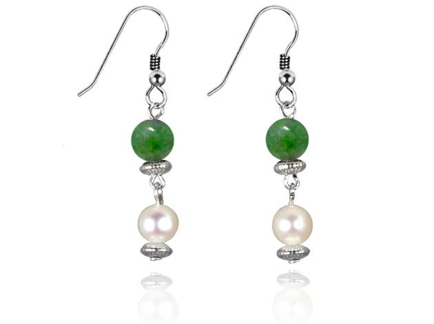 Freshwater Pearl Earrings with Jade in Sterling Silver