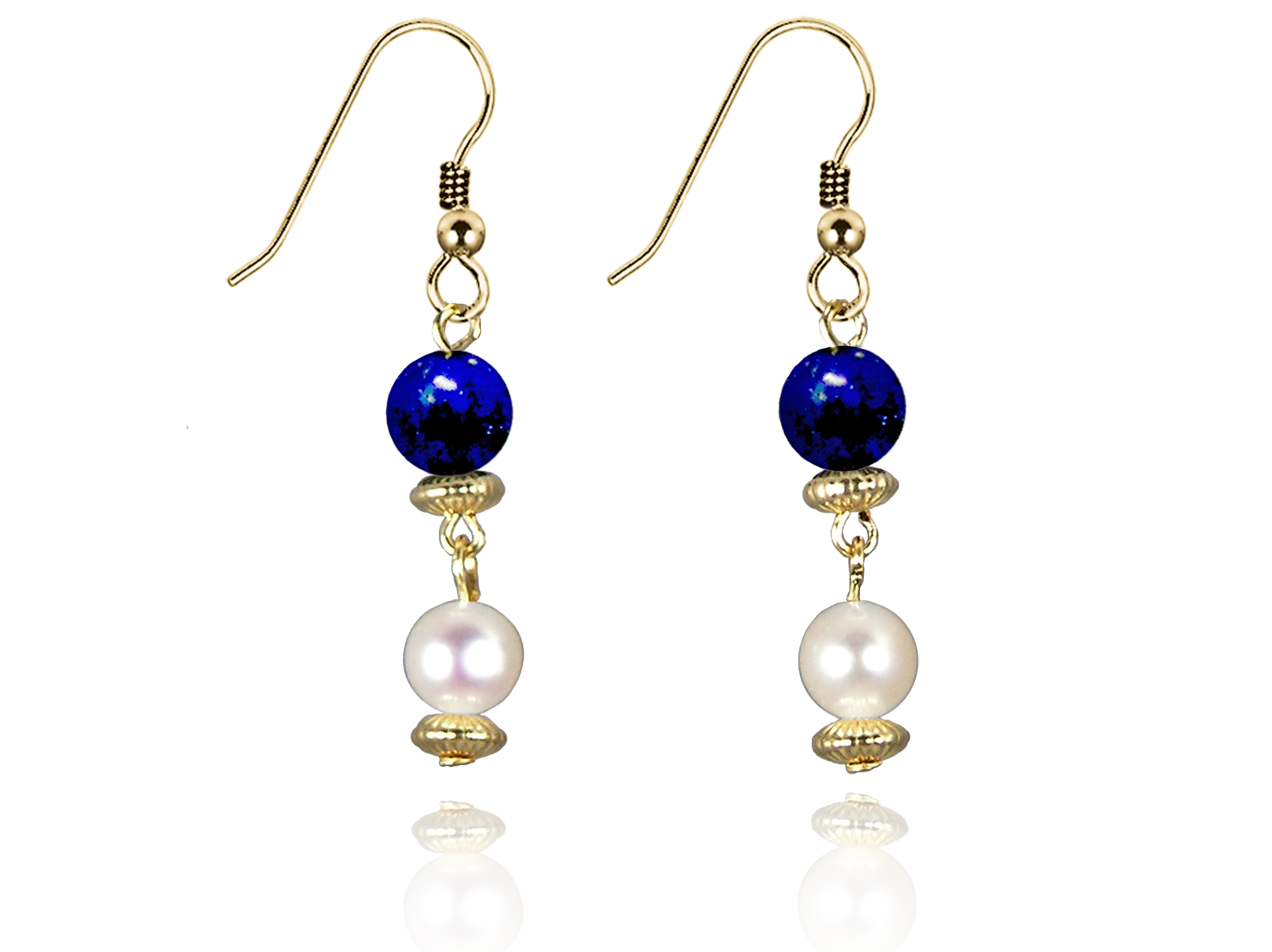 Freshwater Pearl Earrings with Lapis Lazuli in Gold Fill
