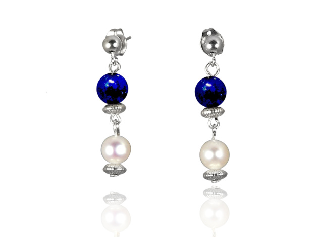 Freshwater Pearl Earrings with Lapis Lazuli in Sterling Silver