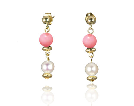 Freshwater Pearl Earrings with Mother of Pearl in Gold Fill