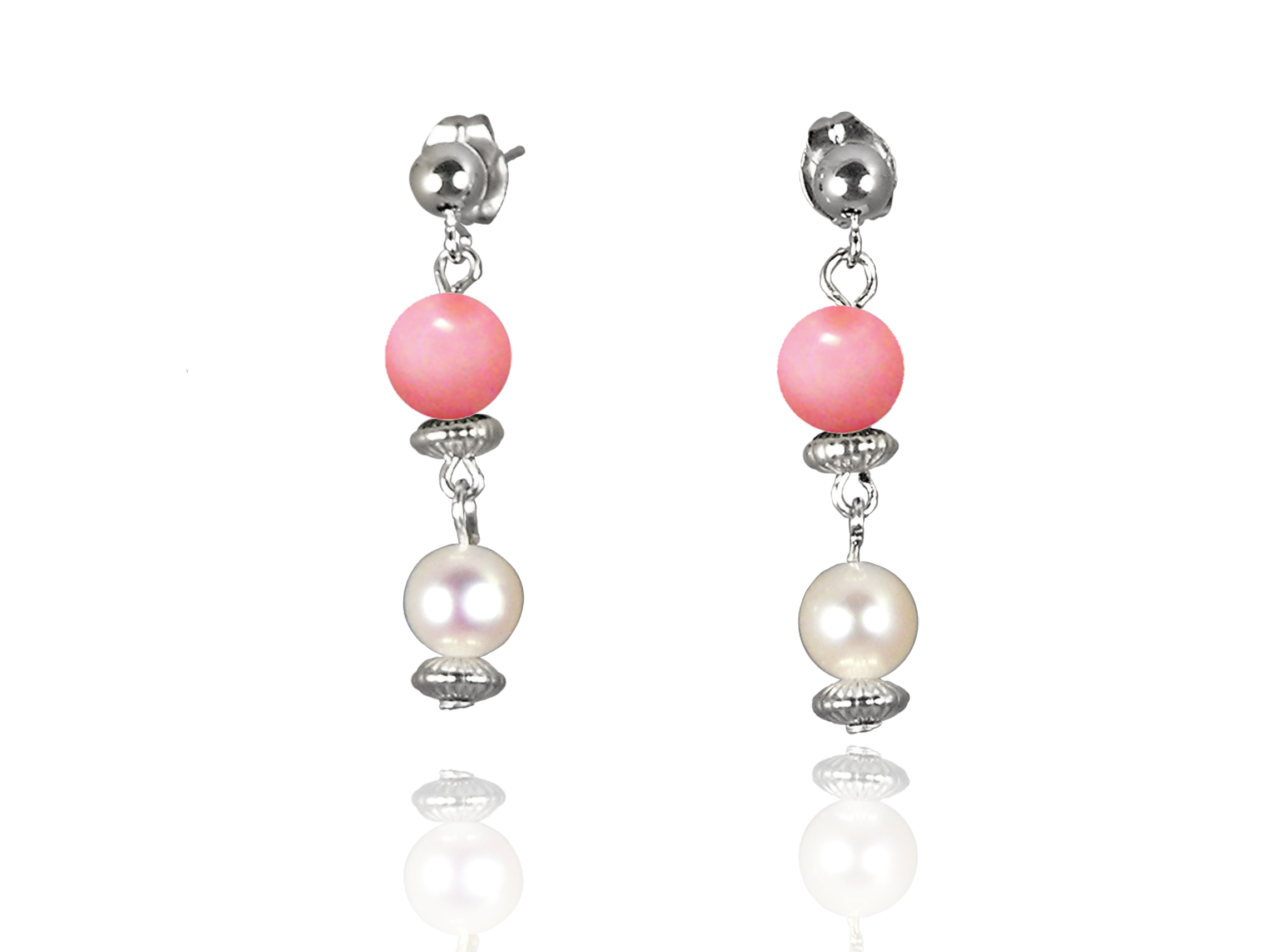 Freshwater Pearl Earrings with Mother of Pearl in Sterling Silver