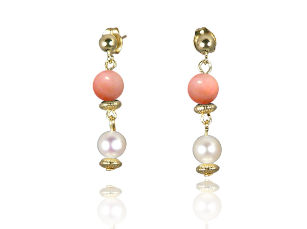 Freshwater Pearl Earrings with Pink Coral in Gold Fill