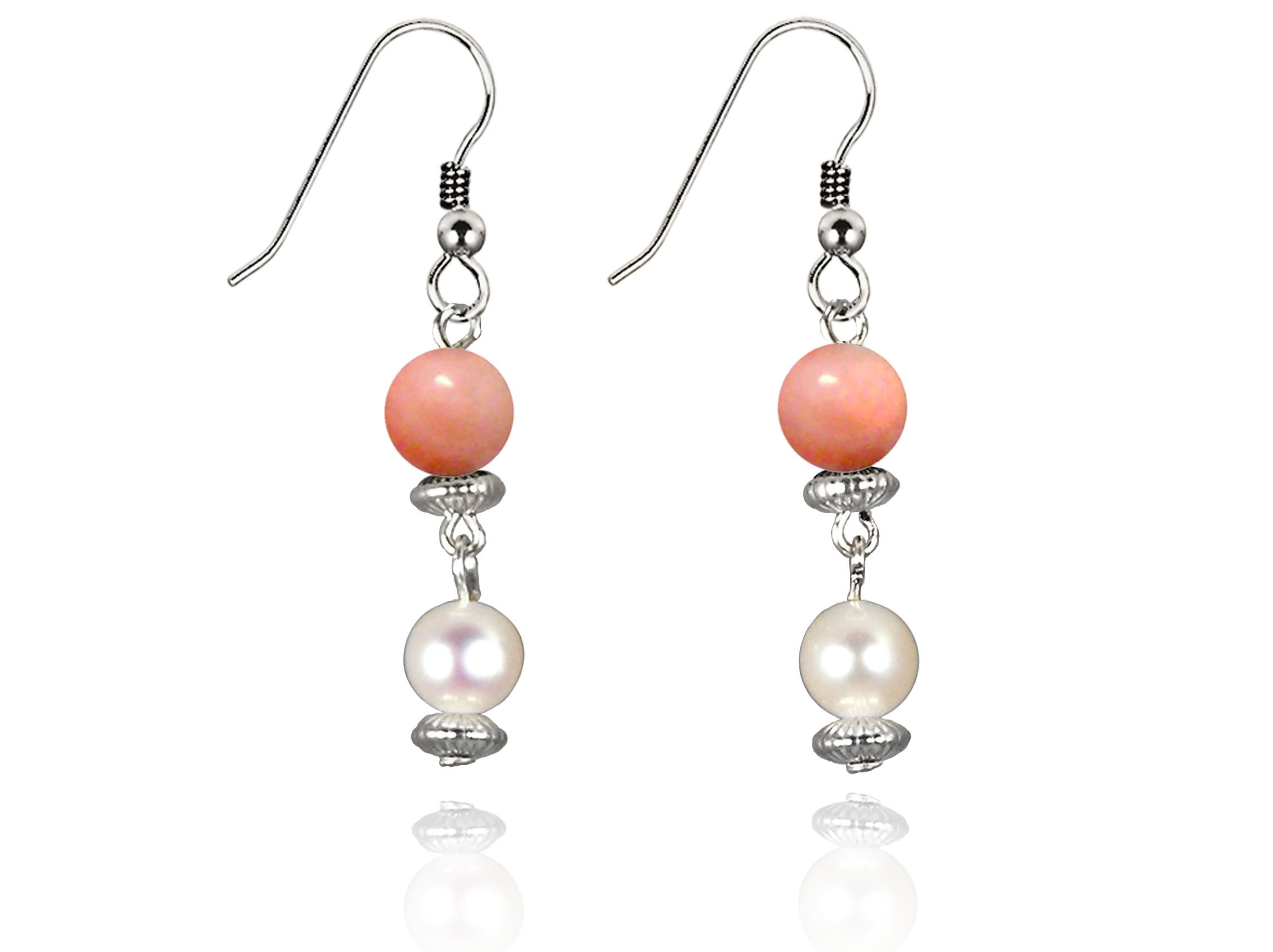 Freshwater Pearl Earrings with Pink Coral in Sterling Silver