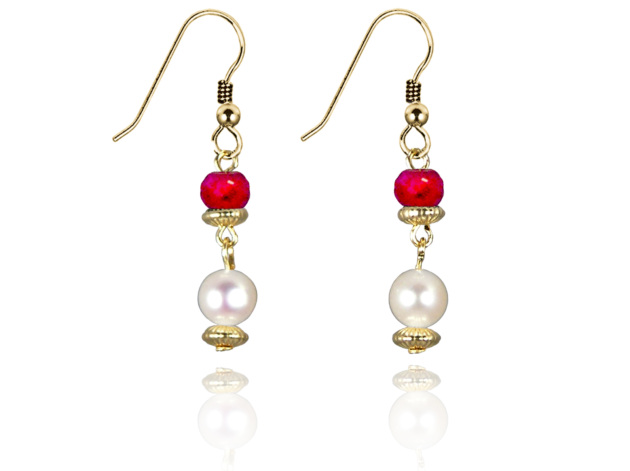 Freshwater Pearl Earrings with Ruby in Gold Fill