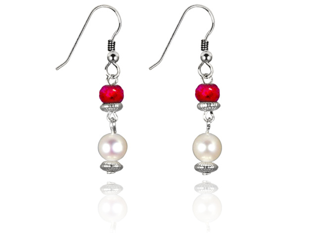 Freshwater Pearl Earrings with Ruby in Sterling Silver