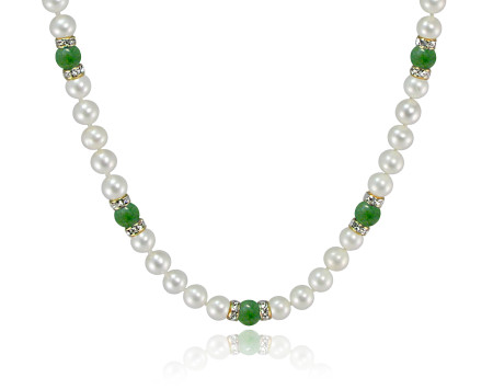 Jade beads with white freshwater pearls and Swarovski crystal rondelles.