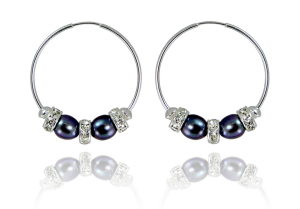 Black freshwater pearl and crystal hoop earrings