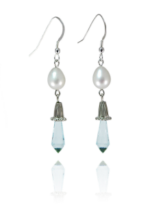 Freshwater pearl and blue topaz earrings