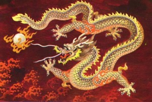 Illustration of a Chinese dragon with pearlq