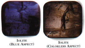 Iolite changes color as it is turned