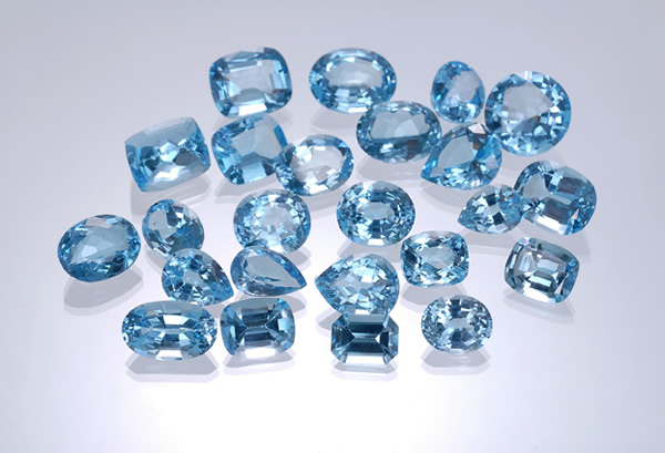Faceted blue topaz
