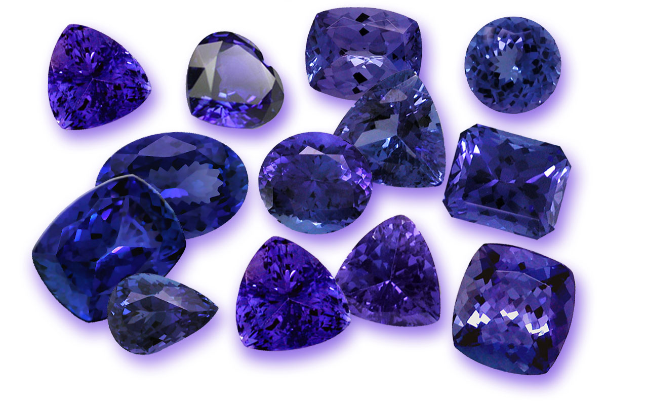 Tanzanite gemstone cuts.