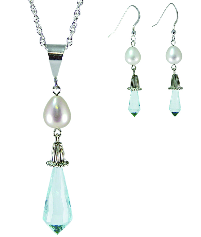 Blue Topaz and Pearl Earring and pendant Set
