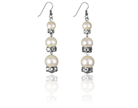 Freshwater Pearl and Swarovski Crystal Earrings