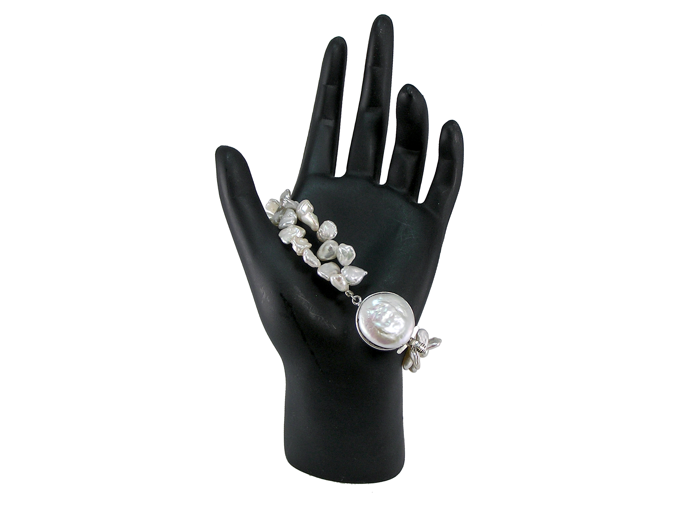 Freshwater Keishi Pearl Bracelet with Mabé Clasp