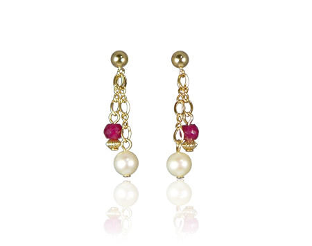 Ruby and Freshwater Pearl Earrings
