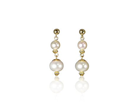 White Freshwater Pearl and Gold-Fill Earrings