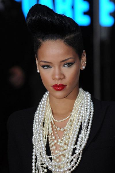 Rihanna in layered pearls.