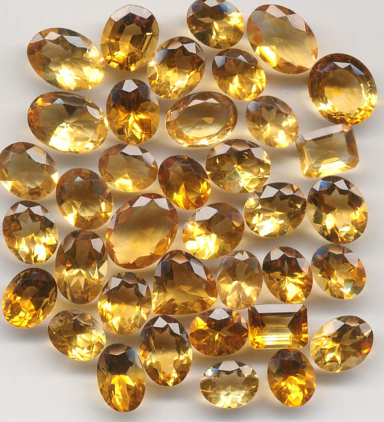 Faceted citrine stones