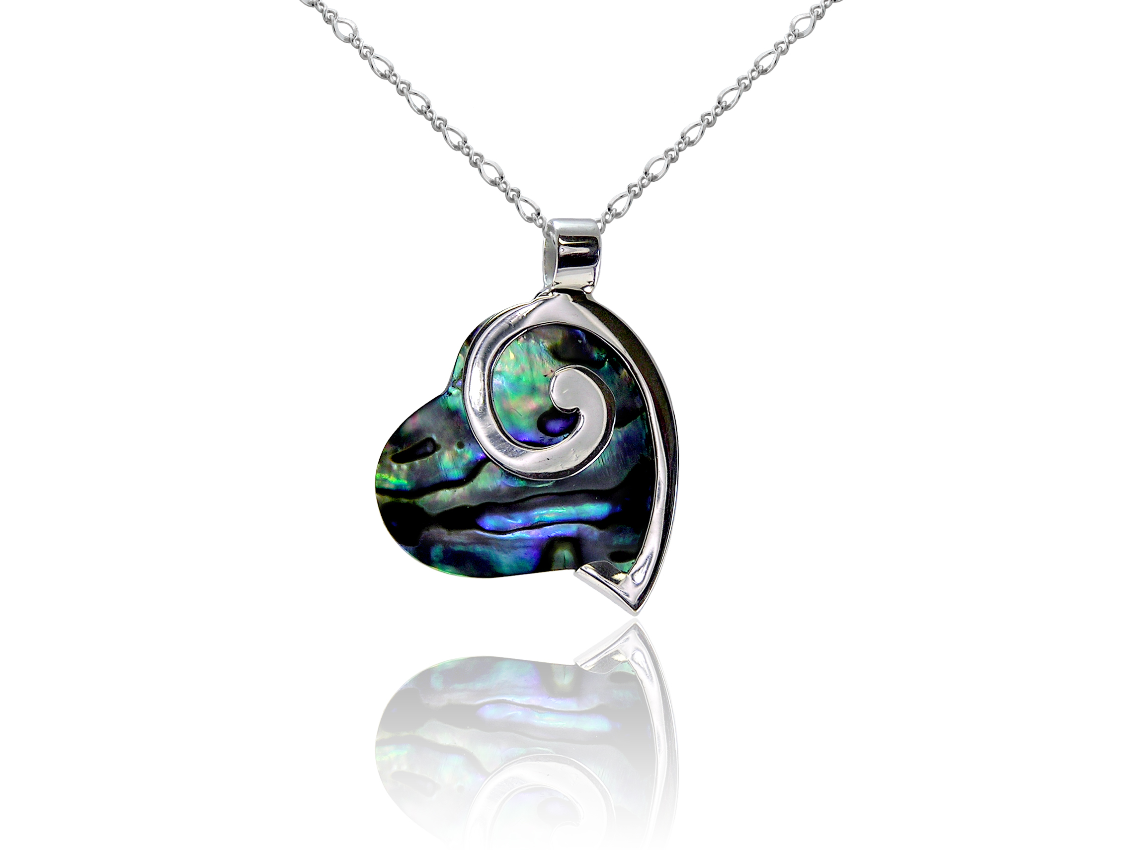 Abalone and Sterling silver stylized heart pendant